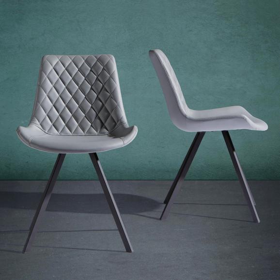 Stuhl Rieke - Hellgrau/Schwarz, MODERN, Textil/Metall (51,5/80/58cm) - Modern Living