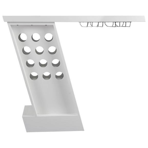 Bar in Weiß/Chromfarben - Chromfarben/Weiß, MODERN, Metall (127/107/45cm) - Modern Living