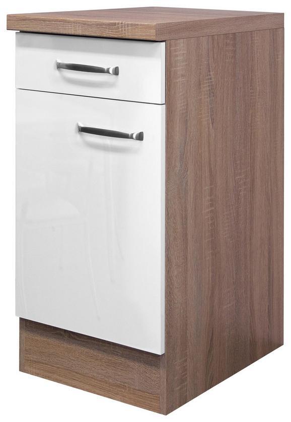 Küchenunterschrank Weiß Hochglanz/Eiche - Edelstahlfarben/Eichefarben, MODERN, Holzwerkstoff/Metall (40/86/60cm)