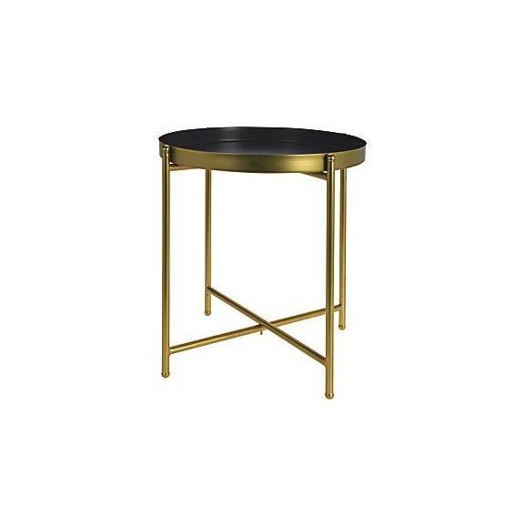Kisasztal Modern - Arany/Szürke, Fém (43/47cm)