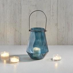 Windlicht Dara Ø/h ca. 18/24 cm - Blau/Schwarz, MODERN, Glas/Metall (18/24cm) - Mömax modern living
