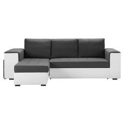 Wohnlandschaft in Grau mit Bettfunktion - Weiß/Grau, Design, Kunststoff (260/150cm) - Modern Living