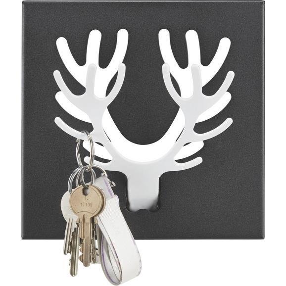 Stenski Obešalnik Rudolf - črna/bela, Moderno, kovina (17.5/17,5/2,5cm)