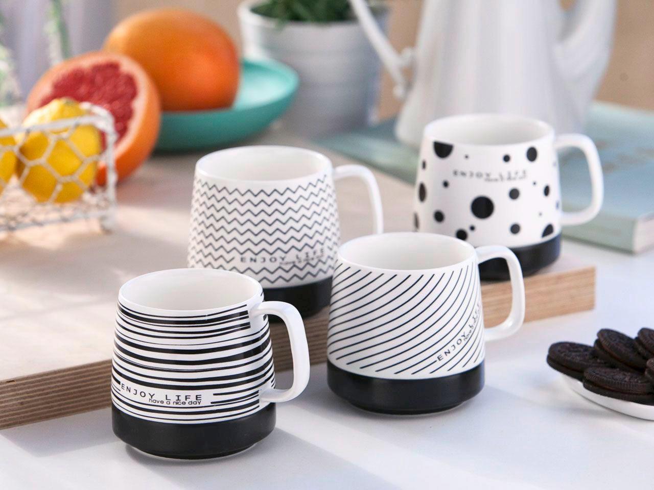 Skodelica Modern - črna/bela, keramika (0,3l)