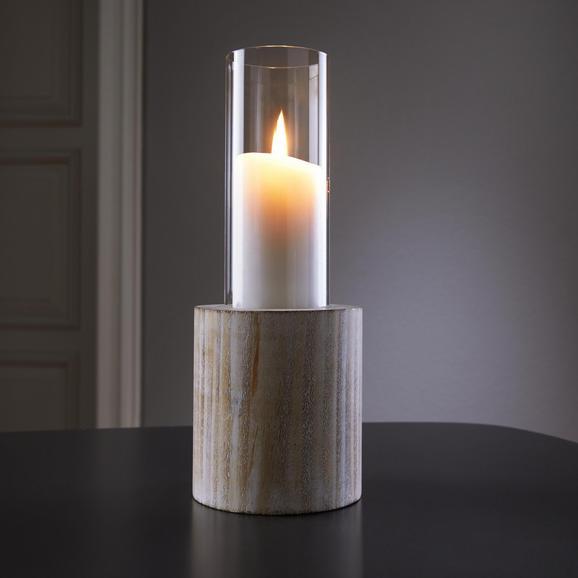 Kerzenhalter Lenny inkl. Glas Ø/h ca. 11,5/29 cm - Weiß, MODERN, Glas/Holz (11,5/29cm) - Mömax modern living