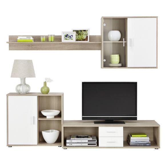 Mobilier Cameră De Zi Viva 21 - stejar Sonoma/alb, Konventionell, sticlă/lemn (218/190/42cm) - Based