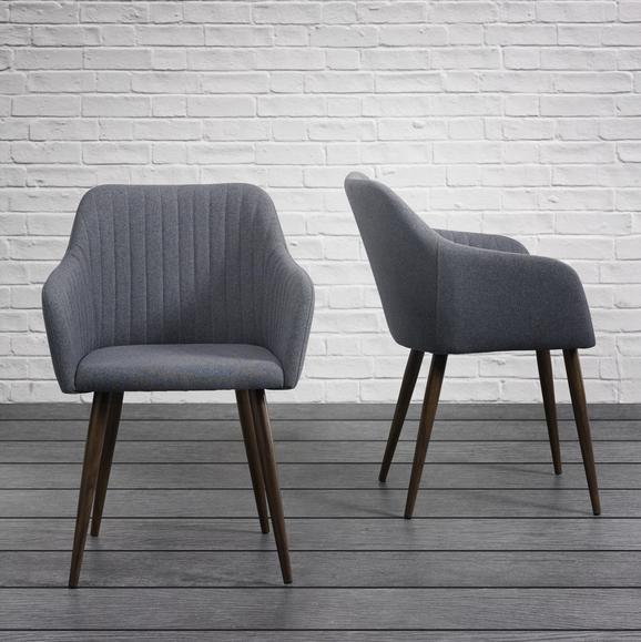 Stuhl Nicola - Dunkelgrau/Dunkelbraun, MODERN, Holz/Textil (58/82,5/45cm) - Mömax modern living