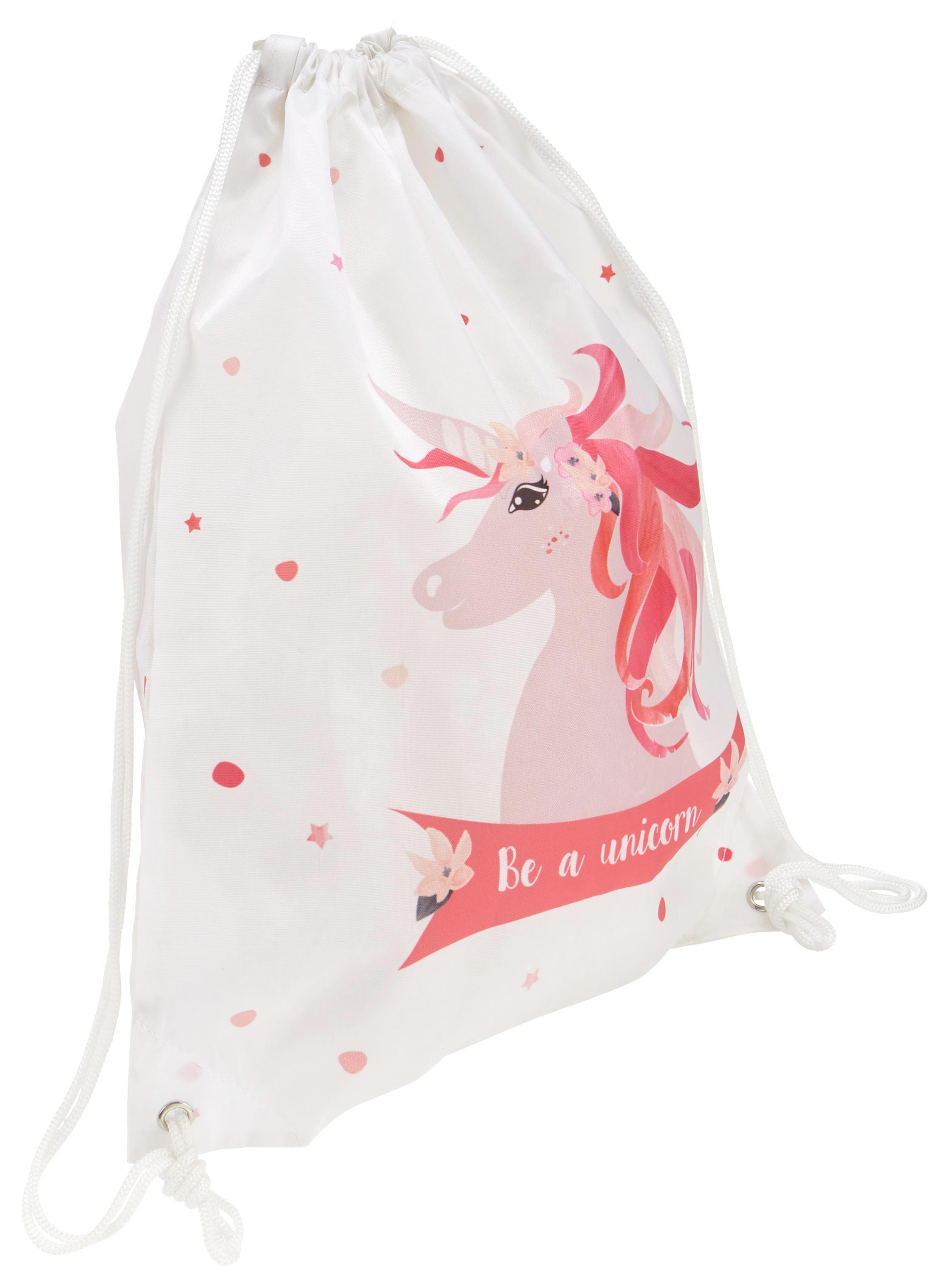 Sportbeutel Unicorn in Rosa/Weiß/pink - Pink/Rosa, Kunststoff (35/40/1cm)