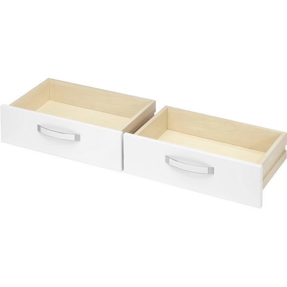 Schubkasteneinsatz in Weiß Hochglanz 2er Set - Weiß, MODERN, Holzwerkstoff/Kunststoff (56.6/34.9/36.5cm) - Premium Living