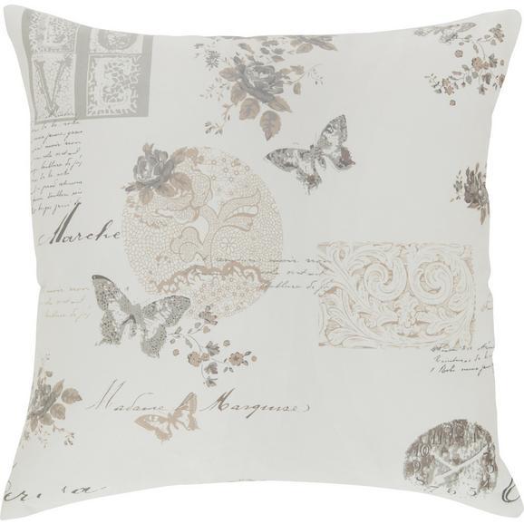Zierkissen Fleur, ca. 45x45cm - Beige/Schwarz, ROMANTIK / LANDHAUS, Textil (45/45cm) - Mömax modern living