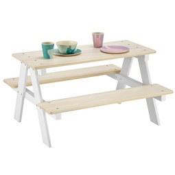 Kindersitzgruppe Weiß/Naturfarben - Naturfarben/Weiß, KONVENTIONELL, Holz (90/50/82cm) - MODERN LIVING