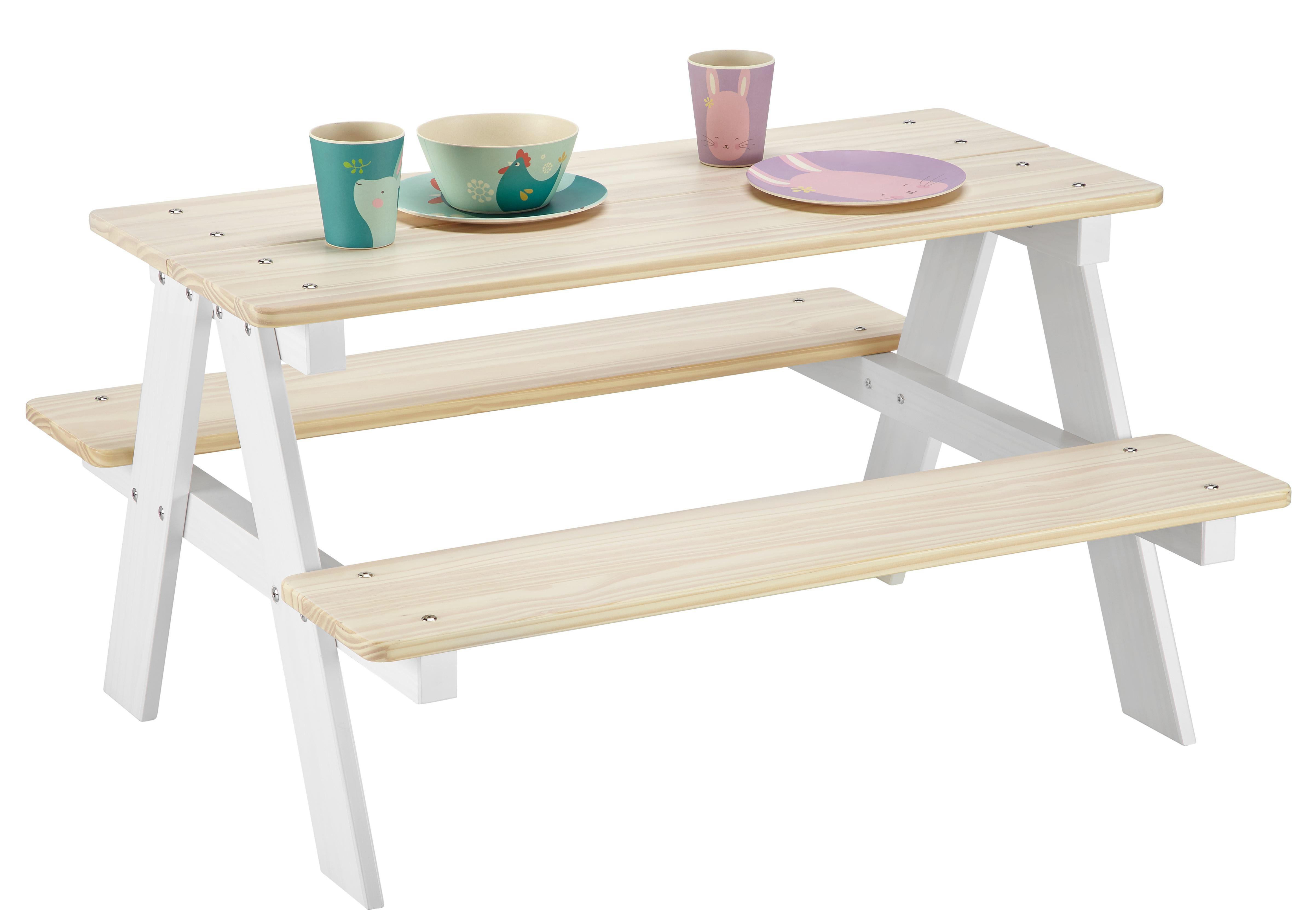 Kindertisch aus Kiefer in Weiß/Naturfarben
