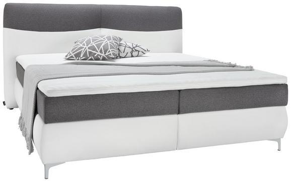 Postelja Boxspring Lozano -top- - bela/krom, Konvencionalno, kovina/tekstil (198/111/218cm) - Premium Living