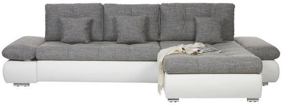 Wohnlandschaft Grau mit Bettfunktion - Chromfarben/Schwarz, KONVENTIONELL, Kunststoff/Textil (303/185cm) - MODERN LIVING