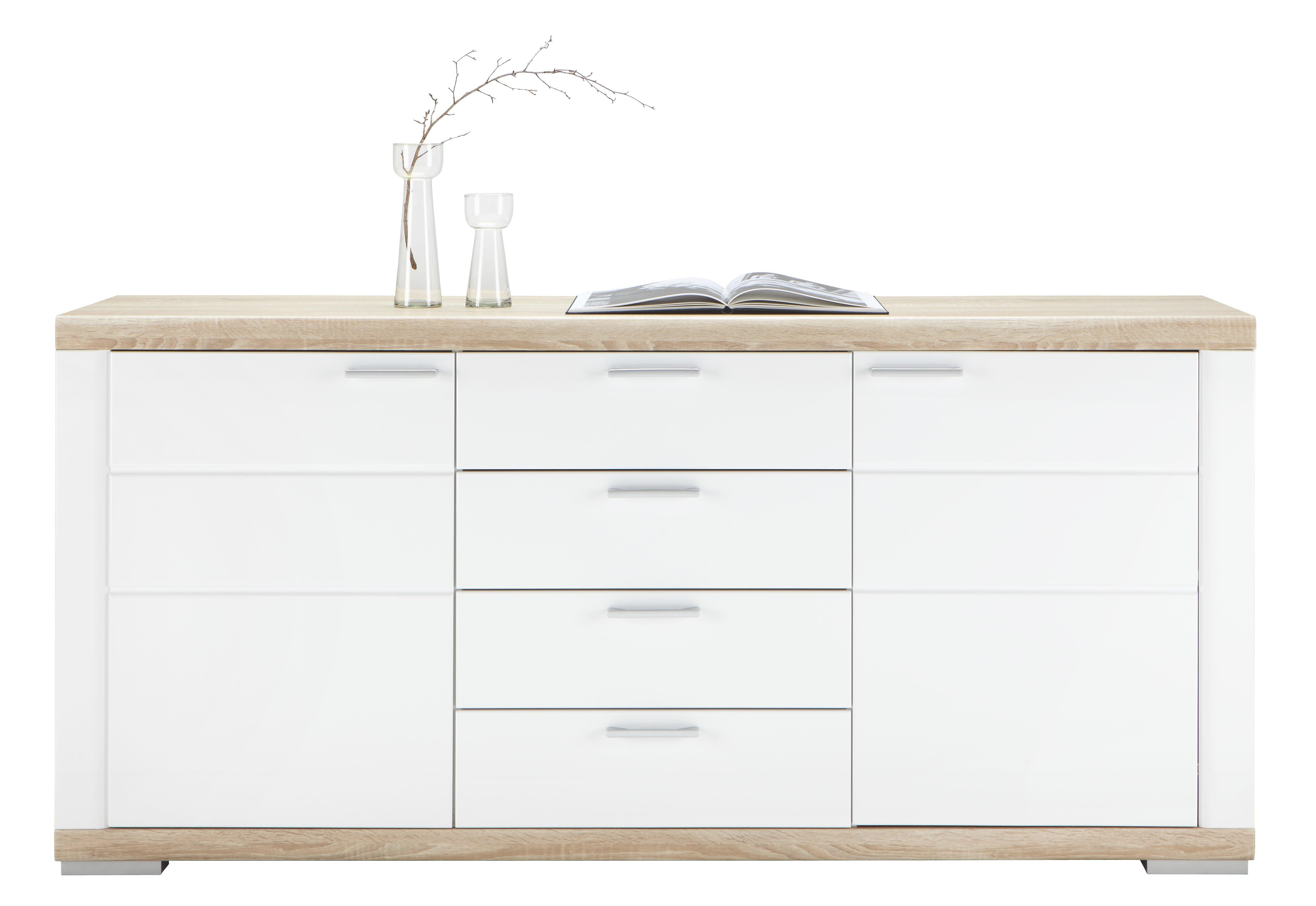 Sideboard in Weiß Hochglanz - Weiß/Sonoma Eiche, MODERN, Holz (180/84/43cm) - PREMIUM LIVING