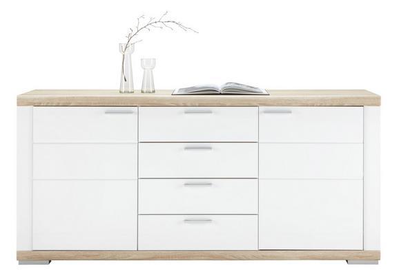 Sideboard Weiß Hochglanz - Weiß/Sonoma Eiche, MODERN, Holz (180/84/43cm) - Premium Living