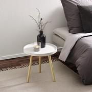 Couchtisch Dana Ø ca.40cm - Weiß/Pinienfarben, MODERN, Holz (40/40cm) - Modern Living