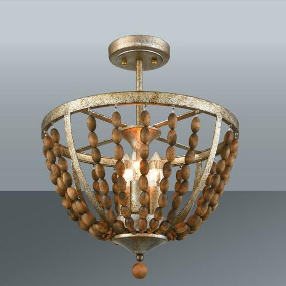 Deckenleuchte Eliza, max. 40 Watt - Goldfarben/Naturfarben, ROMANTIK / LANDHAUS, Holz/Metall (38/40cm) - MÖMAX modern living