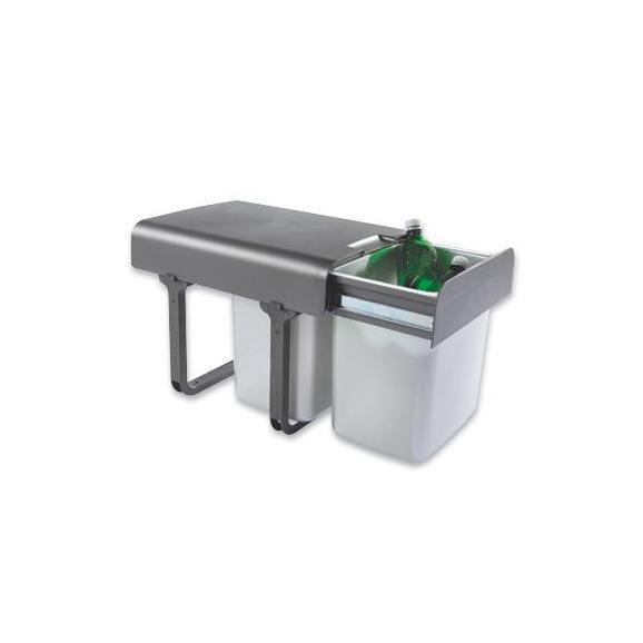 Abfallsammler EKKO - Dunkelgrau/Silberfarben, Kunststoff (35/36/47cm)