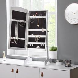 Schmuckschrank in Weiß mit Spiegel 'Lina' - Weiß, MODERN, Glas/Holz (36/82/29,5cm) - Bessagi Home