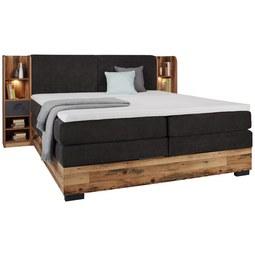 Boxspringbett in Eichefarben ca. 180x200cm - Eichefarben/Anthrazit, LIFESTYLE, Holzwerkstoff/Kunststoff (180/200cm) - Premium Living