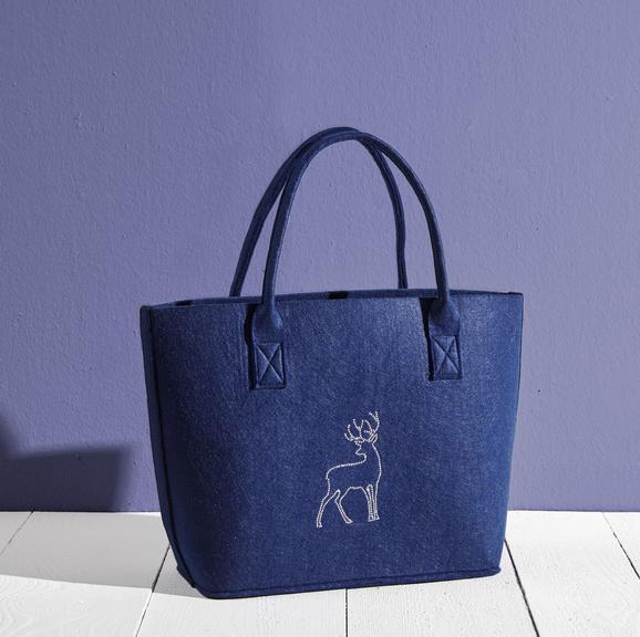Einkaufstasche Luca ca.38x34cm - Blau, MODERN, Textil (38/17/34cm) - Mömax modern living