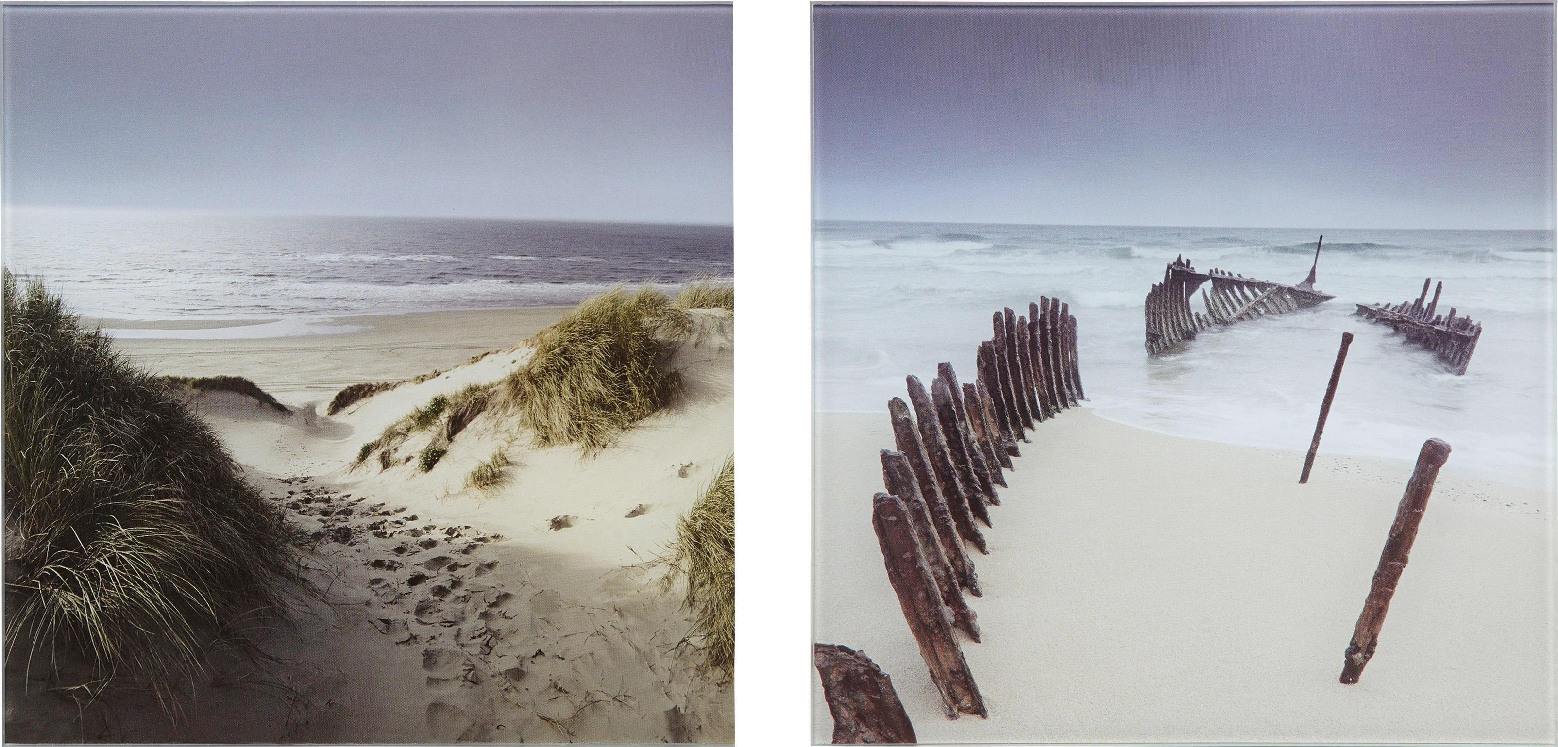 Glasbild Sandy War, ca. 20x40x1,7cm - Multicolor, MODERN, Glas (20/40/1,7cm) - MÖMAX modern living