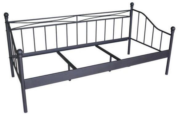 Tagesbett Schwarz 90x200cm - Schwarz, ROMANTIK / LANDHAUS, Metall (207/92/98cm) - ZANDIARA