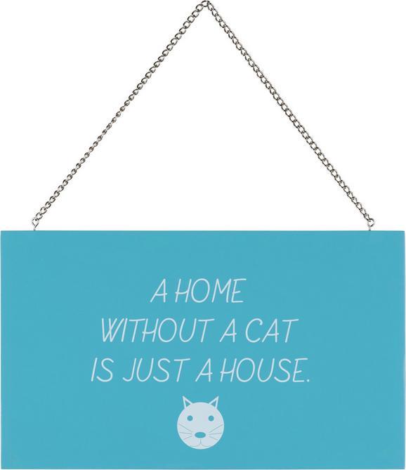 Dekor Tábla Reimi - A Home Without… - kék/fehér, fém/faanyagok (23,2/13,5/0,5cm) - MÖMAX modern living