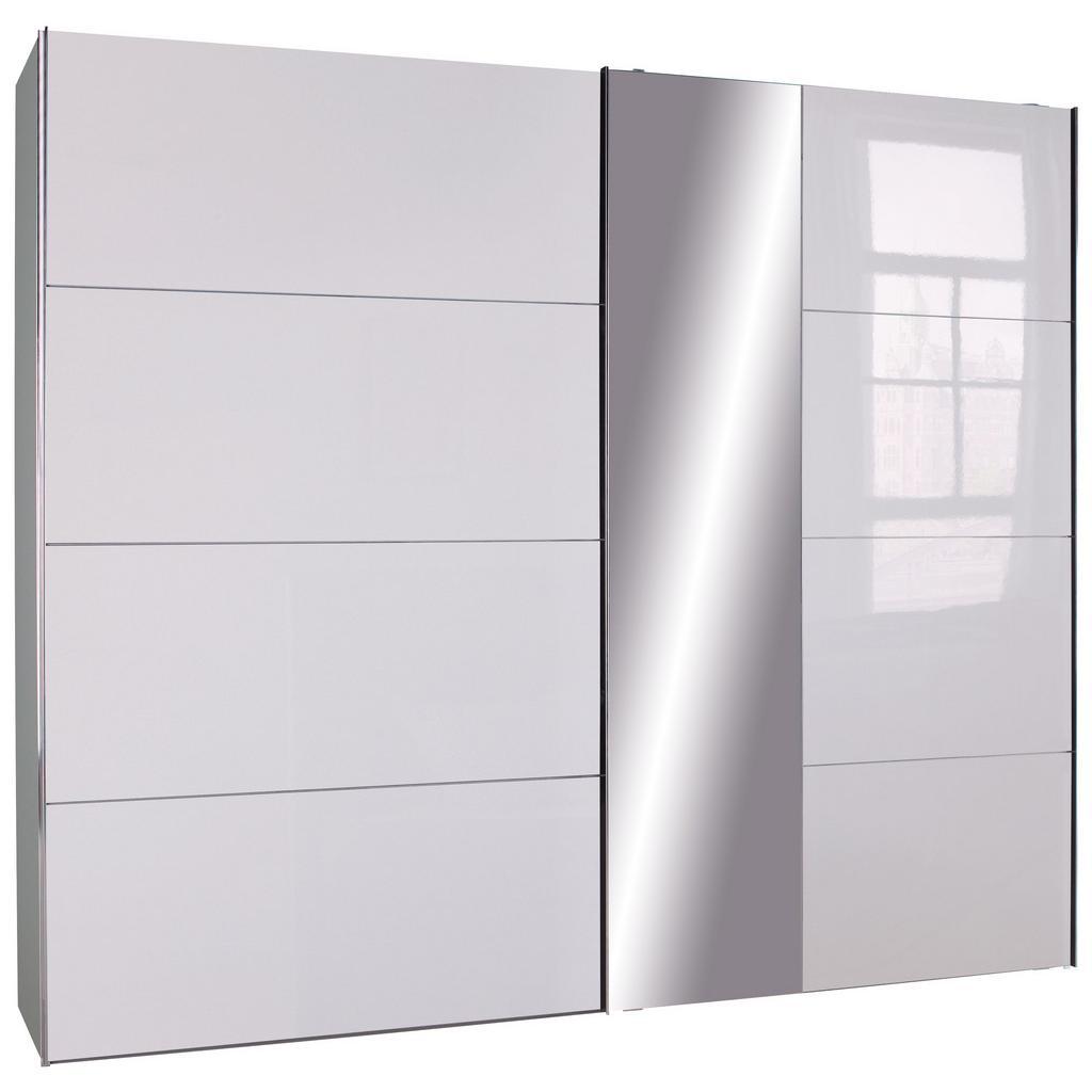 Schwebetürenschrank in Weiß inkl. Spiegel