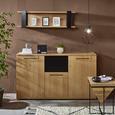 Beistelltisch aus Mangoholz massiv - Schwarz/Naturfarben, MODERN, Holz/Metall (45/45/60cm) - Modern Living
