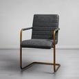 Stuhl Juna - Dunkelgrau/Goldfarben, MODERN, Textil/Metall (55/85/66cm) - Modern Living