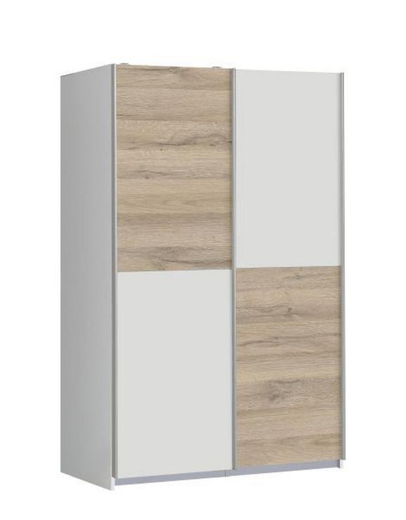 Schwebetürenschrank Weiß/Bianco Eiche - Eichefarben/Weiß, MODERN, Holz/Holzwerkstoff (120/190,5/62cm) - MODERN LIVING