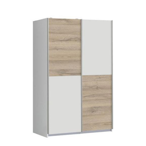 Tolóajtós Szekrény Ohio - Tölgyfa/Fehér, modern, Faalapú anyag/Műanyag (120/190,5/62cm) - Based