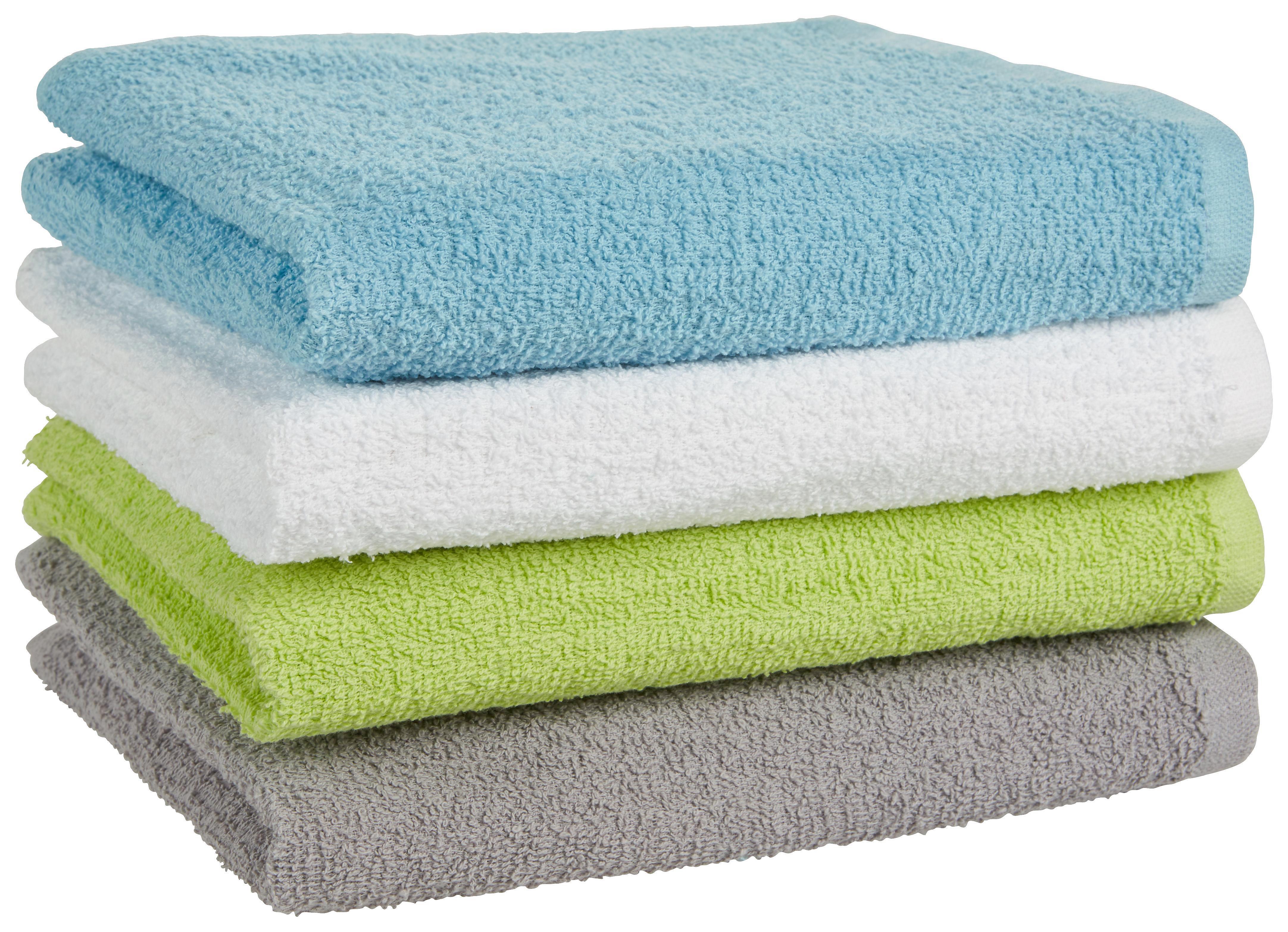 Handtuch Carlos in verschiedenen Farben - Hellgrün/Weiß, Textil (40/80cm) - BASED