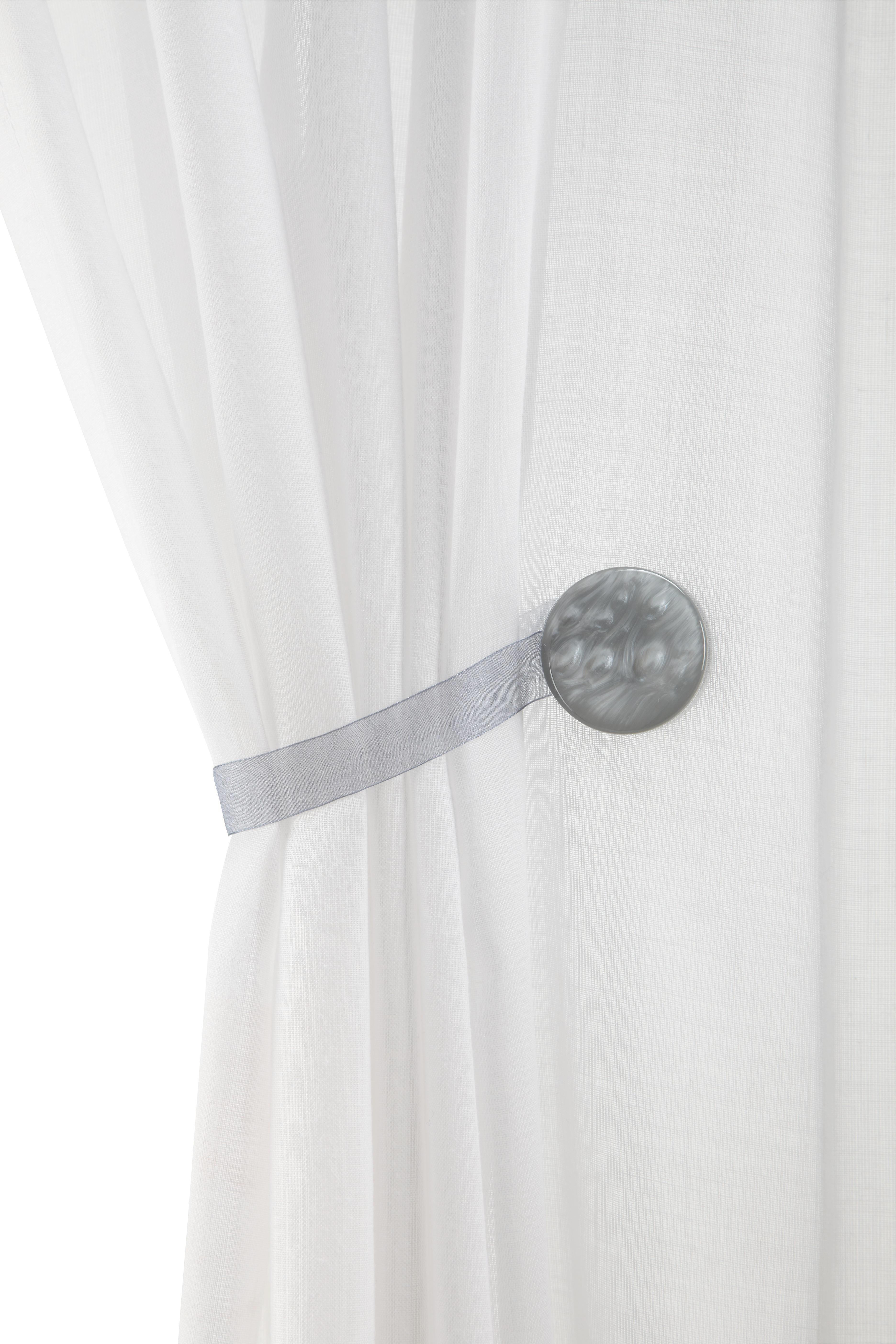 Függönyelkötő Perlmutt - fehér/szürke, textil (4cm) - MÖMAX modern living
