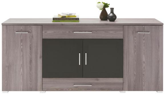 Sideboard Grau/Schwarzglas - Chromfarben/Silberfarben, MODERN, Holzwerkstoff/Kunststoff (180/81/45cm) - Premium Living
