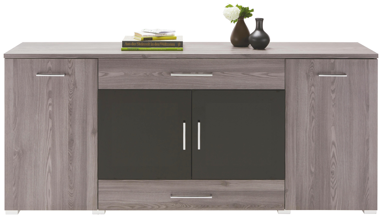 Sideboard in Grau - Chromfarben/Silberfarben, MODERN, Holzwerkstoff/Kunststoff (180/81/45cm) - PREMIUM LIVING