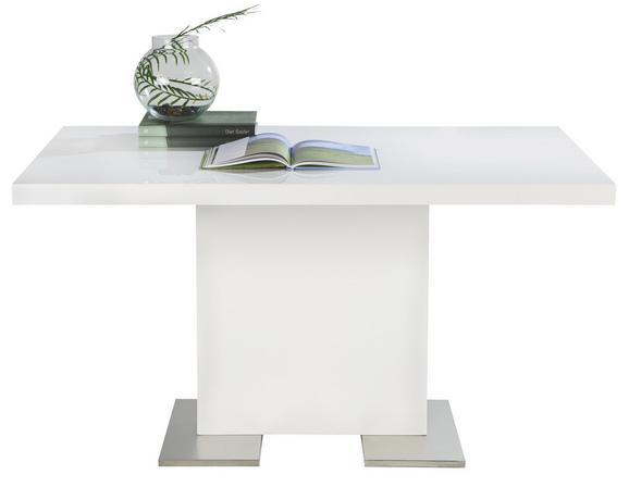 Esstisch in Weiß/Chrom - Chromfarben/Weiß, MODERN, Holzwerkstoff/Metall (140/75/90cm) - PREMIUM LIVING