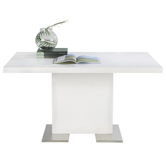 Esstisch in Weiß Hochglanz - Chromfarben/Weiß, MODERN, Holzwerkstoff/Metall (140/75/90cm) - Premium Living