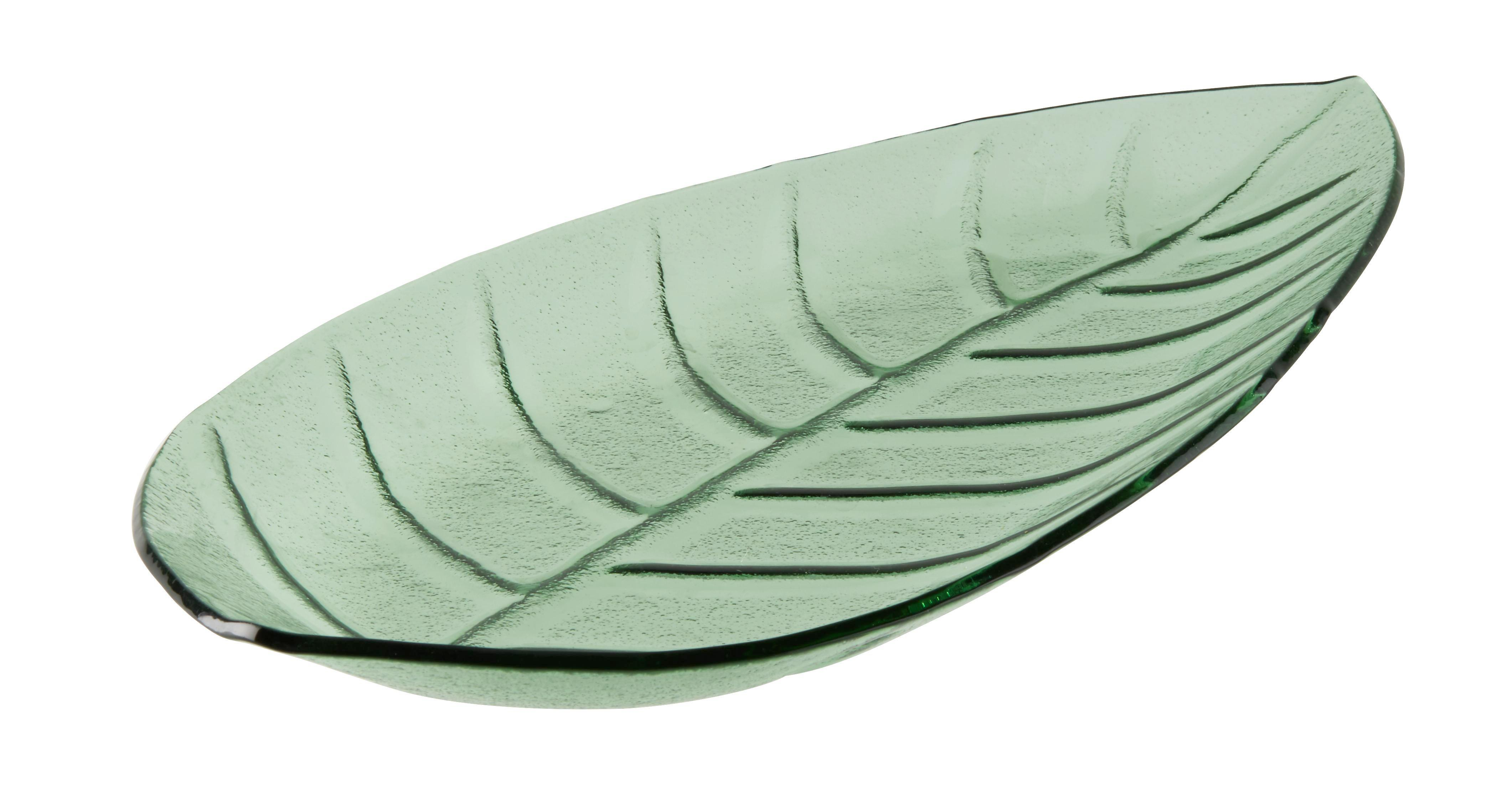 Dekoteller Leaf in Grün - Grün, LIFESTYLE, Glas (35,5/17/3,5cm)