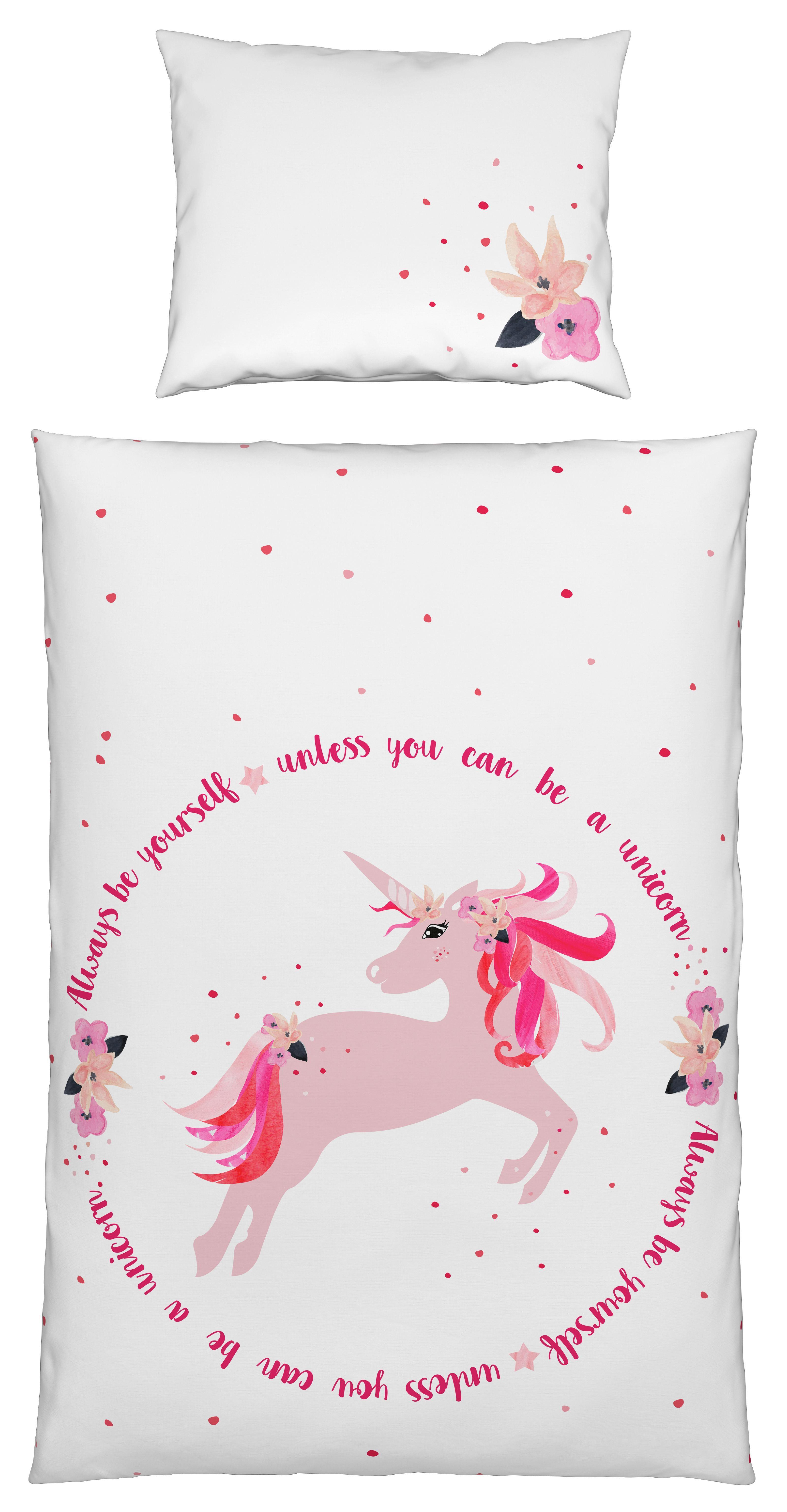 Bettwäsche Unicorn, ca. 140x200cm - Rosa/Weiß, LIFESTYLE, Textil - MÖMAX modern living