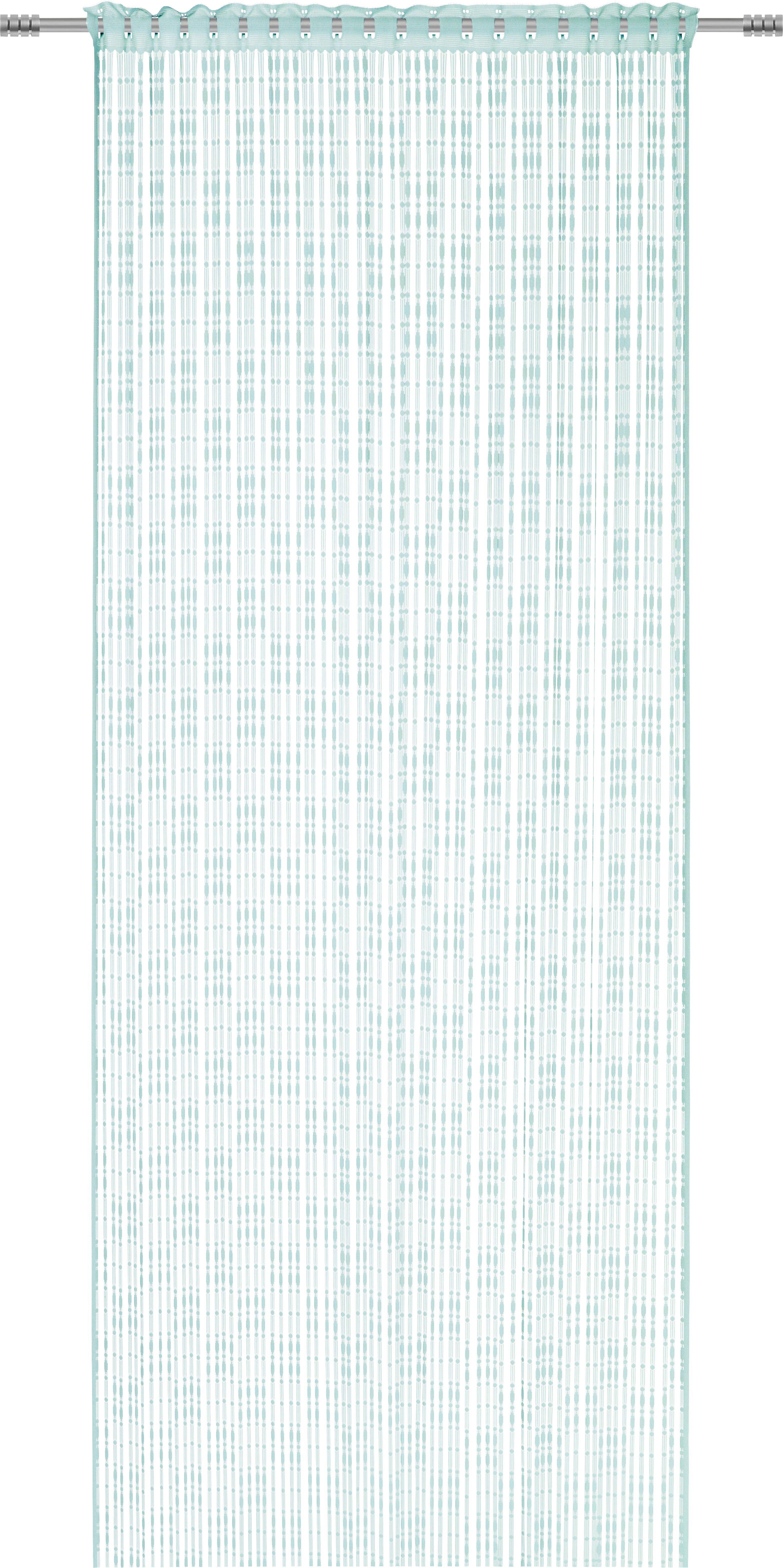 Fadenstore Tom in Jade, ca. 95x240cm - Blau, ROMANTIK / LANDHAUS, Textil (95/240cm) - MÖMAX modern living