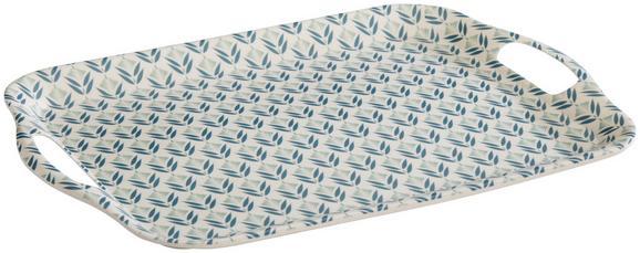 Serviertablett Agnes Blau/Weiß - Blau/Naturfarben, MODERN, Holz/Holzwerkstoff (36,5/26,7/1,8cm) - Mömax modern living