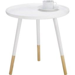 Beistelltisch Marlies Ø48cm - Braun/Weiß, MODERN, Holz (48/48cm) - Mömax modern living