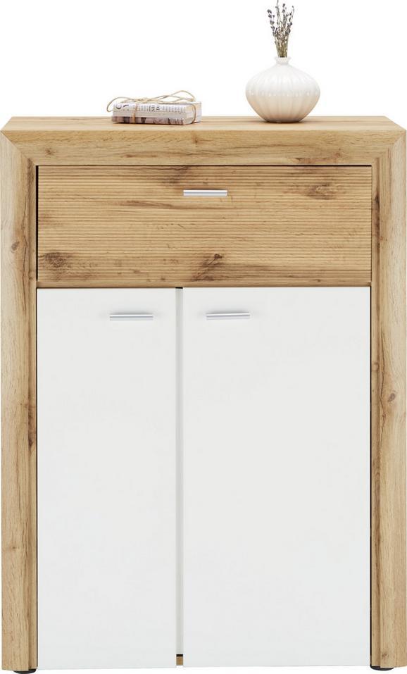 Schuhschrank in Weiß/Eiche - Eichefarben/Silberfarben, MODERN, Holzwerkstoff/Kunststoff (75/102/38cm) - Premium Living