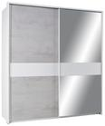 Schwebetürenschrank In Betonfarben ohne Ppt - Weiß/Grau, KONVENTIONELL, Holzwerkstoff (180/198/64cm) - Modern Living