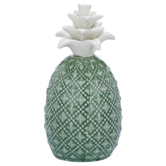Okrasni Predmet Ananas Delia - zelena/bela, keramika (6,5/6,5/12cm) - Mömax modern living