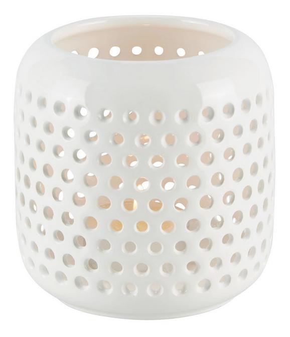 Windlicht Amelie in Weiß aus Keramik - Weiß, LIFESTYLE, Keramik (9,5cm)