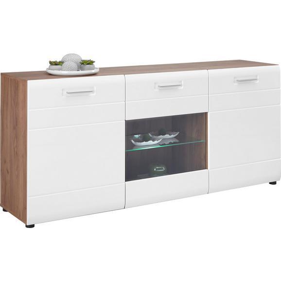Komoda Avensis - bijela/boje hrasta, Modern, drvni materijal/plastika (180/82,6/43,1cm) - Modern Living